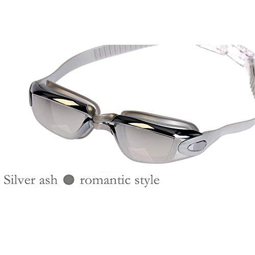DZH Ultraklare Silikonbrille für Erwachsene wasserdichte Antibeschlag-Schwimmbrille für Männer und Frauen,Silver