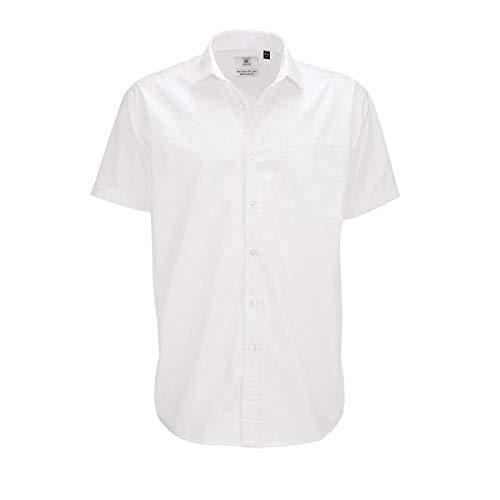 B&c - camicia classica manica corta - uomo (l) (bianco)