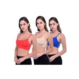 S.k Products Women's Cotton Bralette (Red, Blue, Skin) – Pack of 3