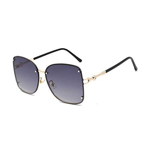 Hjyi Gradienten Ozean-Wafer Kein Rahmen Sonnenbrillen für Damen Polarisierte Aluminiumlegierung Rahmen Sonnenbrille Mode Fahren Sonnenbrillen UV400 Gläser