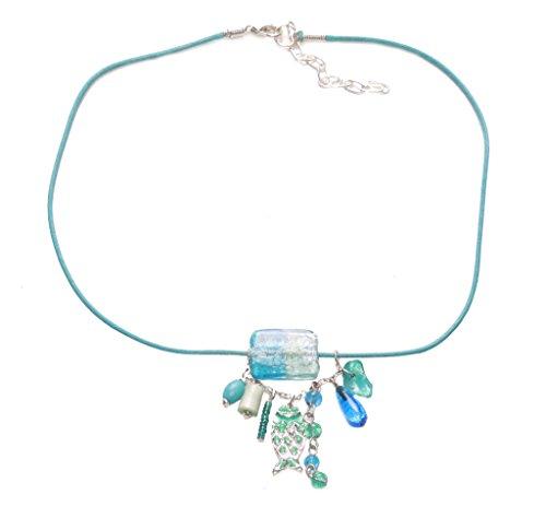 Türkis Island Vibe Strang Schließe Halskette w gemischt Bead & Marmor Anhänger (zx54) -