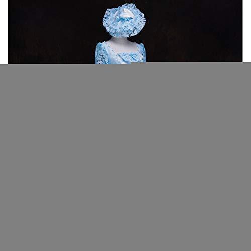 Damen Bürgerkrieg Kostüm - QAQBDBCKL Blaue Spitze mittelalterlichen Kleid mit Hut Renaissance Kleid Königin Kleid Kostüm viktorianischen Marie Antoinette/Bürgerkrieg/Colonial Belle Ball