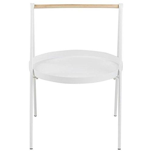 SLOP Table basse ronde style contemporain en métal laqué blanc + poignée en bois hévéa - L 40 x l 40 cm