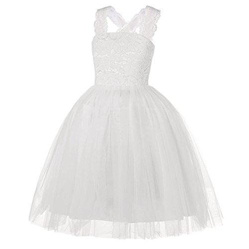 (Dance Fairy Blumenmädchen Kleid Mädchen Prinzessin Kleid Festlich Karneval Party Fest Hochzeit Brautjungfer Kleid, weiß, 130CM / 51.1Inch / 8-9 Jahre)