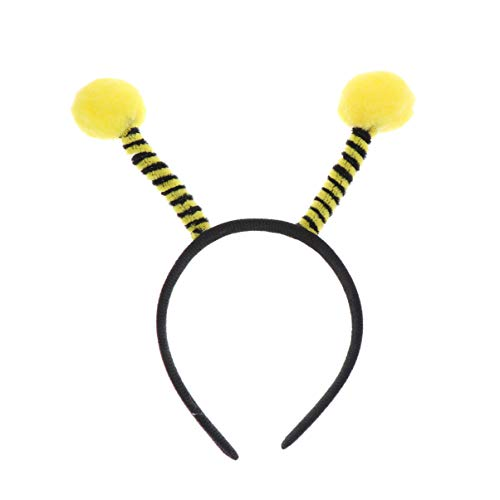 Amosfun 4 stücke biene stirnband antenne stirnband biene tentakel haarband pom-pom stirnband für halloween cosplay party kostüm (gelb)