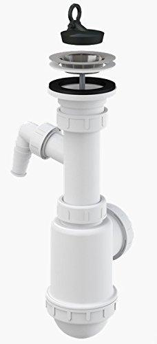 Spültisch Flaschen Siphon Rostfreies Gitter DN 70 Universal DN40/50 mit Anschluss an Waschmaschine Spülmaschine Ablaufgarnitur Ablauf Spülbecken Spüle