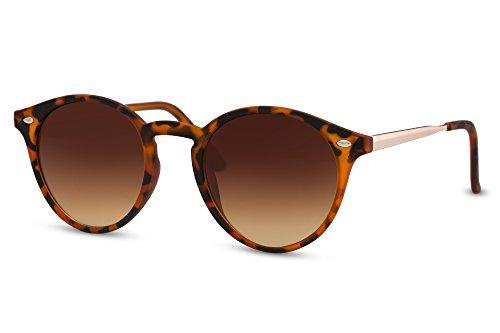 Cheapass Sonnenbrille Rund Braun Schwarz Leo-Print UV-400 Designer-Brille Plastik Metall Damen Herren (Print-damen-sonnenbrillen)
