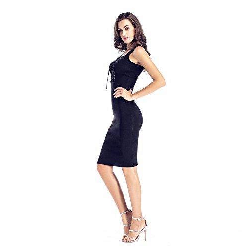 Senza Maniche Scollo Profondo a V CrissIncrocio laccetto laccetti allacciatura Davanti Midi Longuette Bodycon Aderente Fasciante Dress Vestito Abito Nero