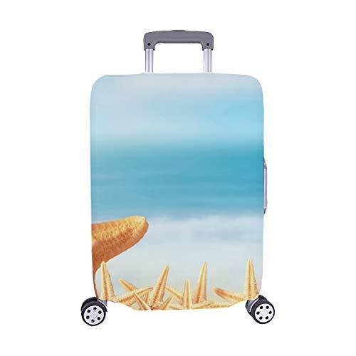 (Nur abdecken) Familien-Starfish auf Sandy Summer Beach Stockfoto Muster-Spandex-Laufkatzen-Reise-Reisegepäck-Schutz-Koffer-Abdeckung 28,5 x 20,5 Zoll