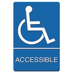 ADA Sign Wheelchair Accessible, Tactile Symbol/Braille, Plastic, 6x9, Blue/White, Sold as 1 Each