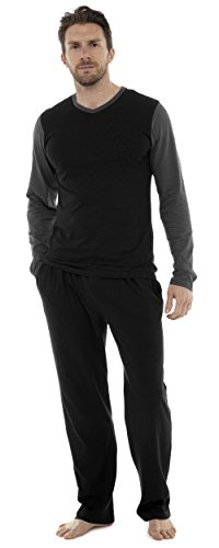 Mens Pyjama Set Long Sleeve Top & Pants Cotton PJS