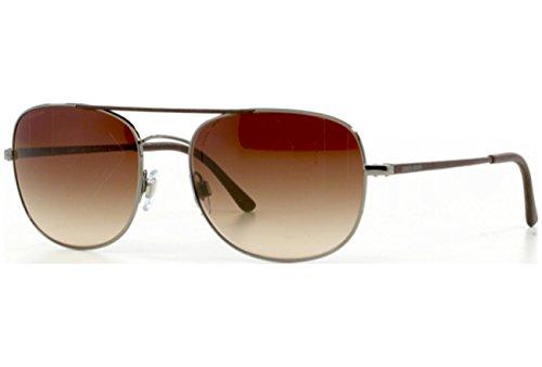 Giorgio Armani Für Mann 6012q Leather Gunmetal / Leather Tips / Brown Gradient Metallgestell Sonnenbrillen