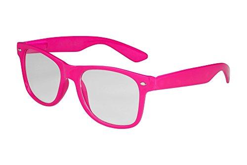 X-CRUZE® 1-009 X02 Nerd Brille ohne Stärke Vintage Retro Style Stil Klarglas Hornbrille Modebrille Unisex Herren Damen Männer Frauen Streberbrille pink