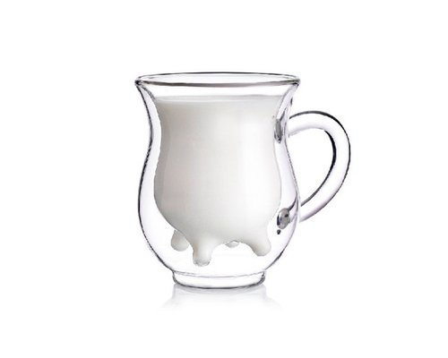 Creative Beautiful Gifts 3D Double Layer Crystal Glass Cup Mug - Cute Calf Cow Udder Shaped Creamer Pitcher Milk Bottle by DS Styles - Crystal Cup