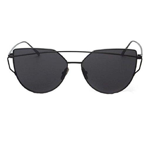 Yistu Twin-Träger klassische Frauen Metallrahmen Spiegel Sonnenbrille Cat Eye Brillenmode (schwarz)
