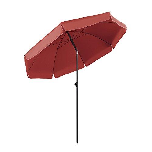 Sekey® Sonnenschirm Ø 240 cm Marktschirm Gartenschirm Terrassenschirm Rot Rund Sonnenschutz UV25+
