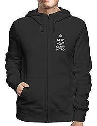 T-Shirtshock Felpa Cappuccio e Zip Uomo Nera TKC1300 Keep Calm And Carry  Nitro 6ba79d5f9a8