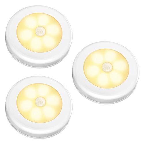 Nakhal Nachtlicht mit Bewegungsmelder (3 Stück, 6 LEDs), Auto Ein/Aus Nachtlicht Magnetisch und 3m klebend, LED Bewegungsmelder Licht, Batterie-Betrieb (nicht enthalten) Schrankleuchten | Warm Weiß