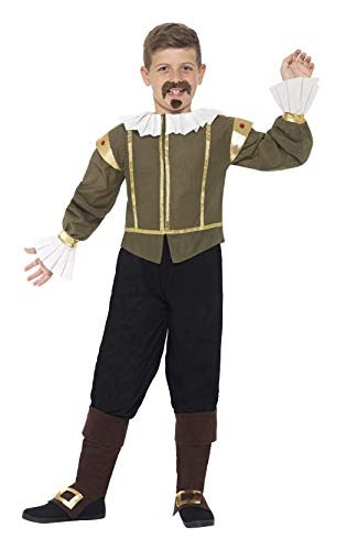 Smiffys 44077L - Kinder Jungen Shakespeare Kostüm, Alter 10-12 Jahre, grün