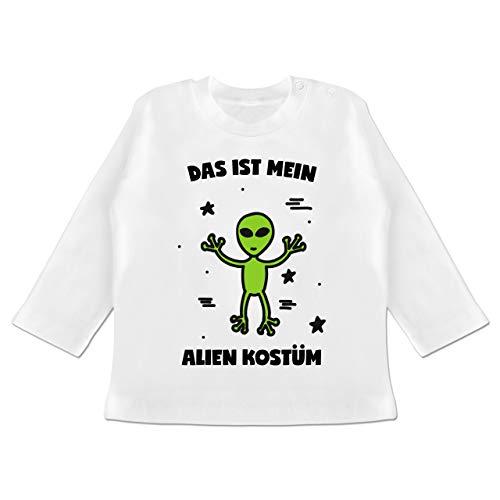 Karneval und Fasching Baby - Das ist Mein Alien Kostüm - 3-6 Monate - Weiß - BZ11 - Baby T-Shirt Langarm