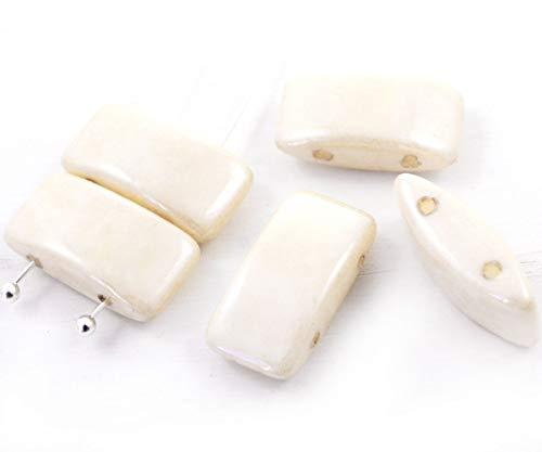 8pcs Creme-Weiß Alabaster Opal Light Beige Orange Glanz Tschechische Glas-Träger 2 Löcher Rohr-Anschluss-Perlen 9mm x 17mm -
