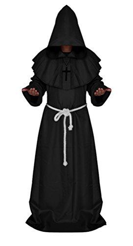 elalterlich Kapuzenmönch Renaissance Priester Robe Kostüm Cosplay (XXL, Schwarz) (Renaissance Cosplay Kostüme)