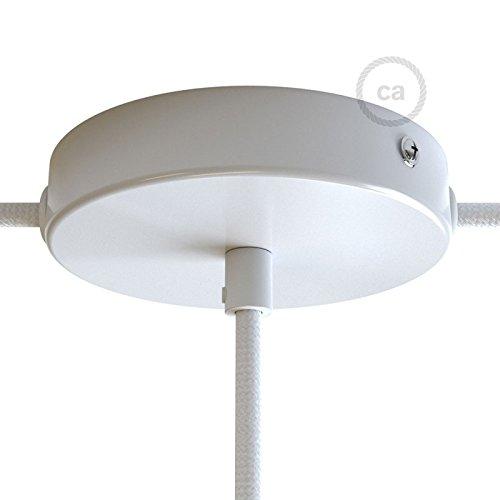 creative cables Lampenbaldachin Kit glänzend weiß mit Ausgang mittig und 2 seitlichen Ausgängen, Zugentlastung und Befestigungszubehör