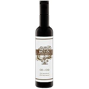 Guru MCT Öl 500ml | 100% aus Bio Kokosöl C8 C10| Lichtschutz Glasflasche | Laborgeprüft | Geschmacksneutral für Bulletproof Coffee + Salat | 70% Caprylsäure