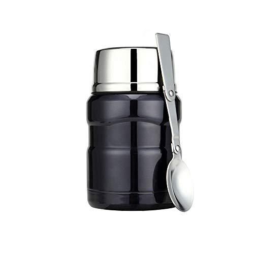 YOCC Edelstahlfutter Jar, Isolierte Thermos mit Faltlöffel Storage Container Cup, Bag-Vacuum Double Walled BPA Free, Leak Proof,700ML