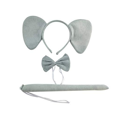 Amosfun 3 Stück Kinder Tier Kostüm Set mit Elefant Ohren Stirnband Schwanz Fliege und Handschuhe Tierkostüm Kinderkostüm für Party Cosplay Verkleidung