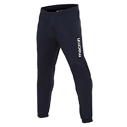 Pantalone Tuta da Ginnastica Uomo Macron Iguazu Fondo Stretto con Elastico, Colore: Blu Navy, Taglia: M