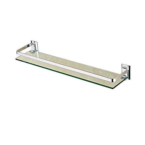 HaiYushop Glasregal Wandregal Badregal, Duschregal Aus Aluminium Und Glas - Badezimmerregal Mit Geländer, Optionale Länge (30/40/50 / 60cm) -