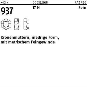1 Kronenmuttern DIN 937 17H M36x1,5 Stahl