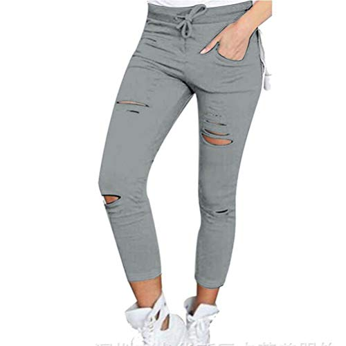 Feidaeu Frauen Bleistift Hose Baumwolle Loch Skinny Neun Punkte Hohe Taille Stretch Jeans Dünne Hose