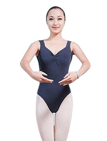 ZKOO Damen Mädchen Ballett Dance Gymnastikanzug Low Back Spaghetti-Trägern Balletttrikot Blau S