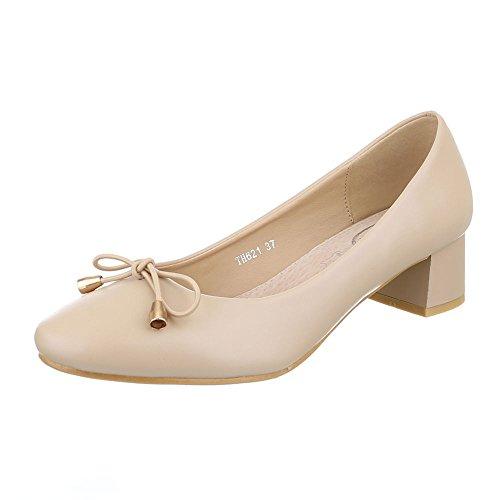 Ital-Design Komfort Pumps Damen Schuhe Geschlossen Blockabsatz Bequeme Pumps Beige, Gr 37, Th621-