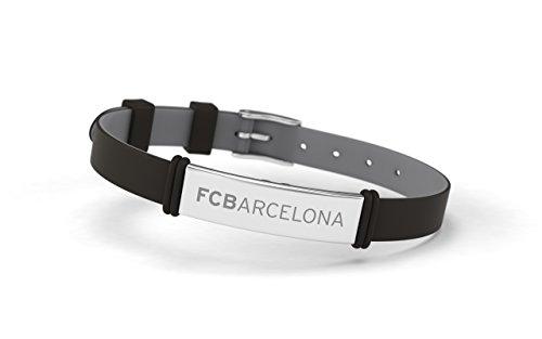 FCB Pulsera Fashion Negra, Pulsera ajustable de silicona y acero inoxidable Fútbol Club Barcelona, Producto Oficial