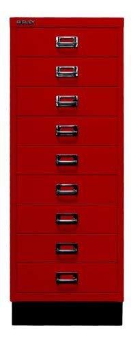 Bisley MultiDrawer, 39er Serie mit Sockel, DIN A3, 9 Schubladen, Metall, 670 Kardinalrot, 43.2 x 34.9 x 94 cm