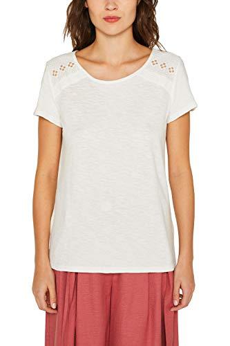 edc by ESPRIT Damen 049CC1K024 T-Shirt, Weiß (Off White 110), X-Small (Herstellergröße: XS)