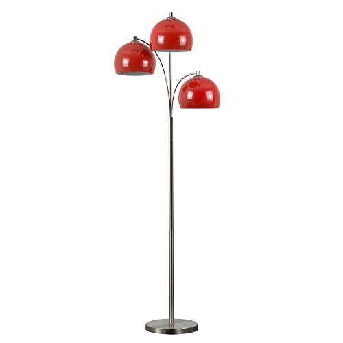 Modern Designer Style 3 Way Brushed Chrome Floor Lamp   Complete With Mini  Arco Style Red Dome Shades