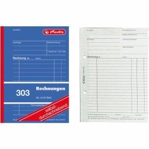 Herlitz 5 x Formularbuch Rechnung A6 303 2x40 Blatt selbstdurchschreibend
