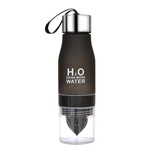 HCFKJ 700ML Zitrone Tasse Flasche H2O trinken mehr Wasser trinken Fahrrad Flasche (SCHWARZ)