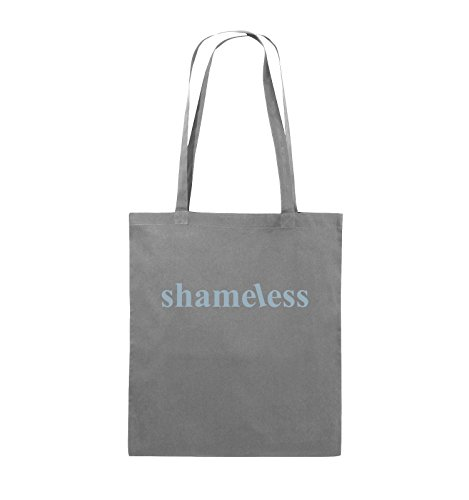 Comedy Bags - shameless - LOGO - Jutebeutel - lange Henkel - 38x42cm - Farbe: Schwarz / Silber Dunkelgrau / Eisblau