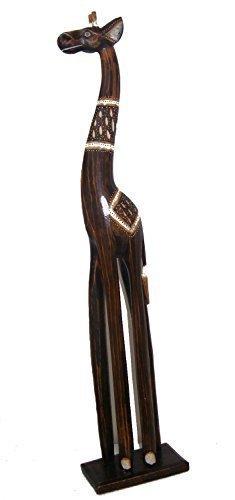 Intagliato A Mano Legno Naturale Mamma Giraffa Media Verticale - 80 cm Alto - Commercio Equo Solidale