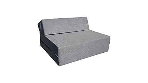 Matelas de jeunesse lit fauteuil futon pliable pliant choix des couleurs - longueur 160 cm (Gris)