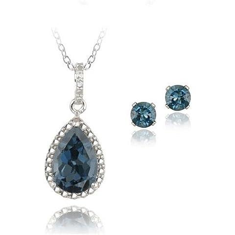 4,3ct in argento Sterling, con topazio blu Londra a goccia con diamante Accent &-Set di collana e orecchini - Genuine Diamante Bridal Set