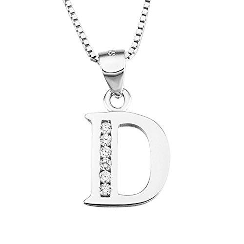 Bishilin 925 Silber Damen Charms Anhänger Buchstabe D mit Strass für Halskette (Strass Bulldogs Damen)