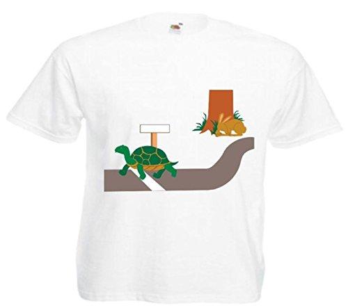 Motiv Fun T-Shirt Schildkröte und Hare Cartoon Spass Kult Film Top Motiv Nr. 12827 Weiß