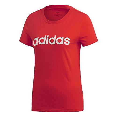 adidas Damen W E LIN Slim T Hemd, Mehrfarbig (rojact/Blanco), 2XL -