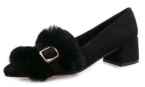 Moyens Fermeture Noir Mode à Talon Aisun Enfiler Escarpins Femme Printemps SCwtq7p